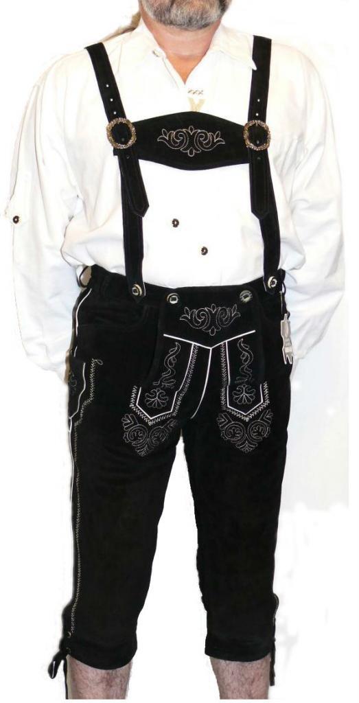 2-piece Leather German Oktoberfest Lederhosen Shorts Pants 38 Black