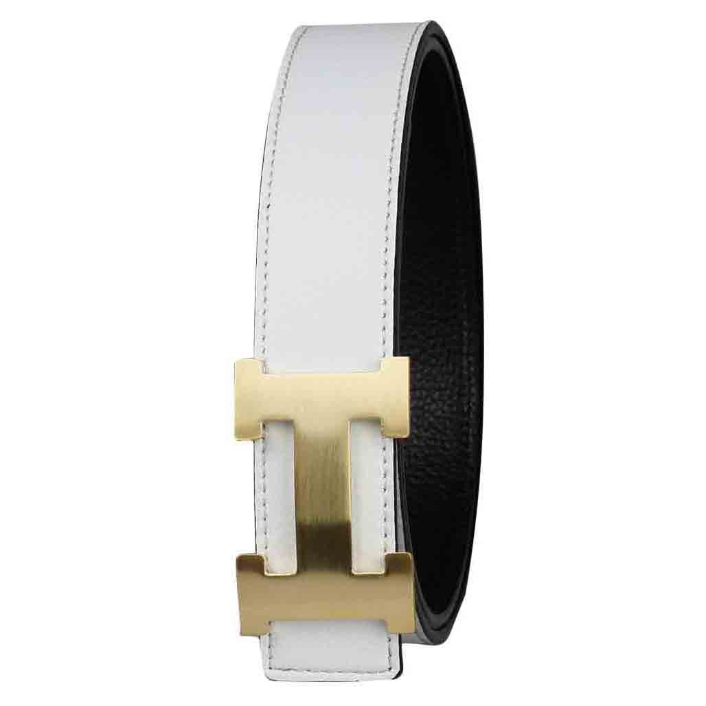 G-FOR Women H Reversible Leather Belt With Removable Buckle 30inch White