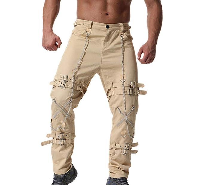 Bolsillos Laterales Pantalones Pantalones de chándal con Cadena de Hip Hop para  Hombres Pantalones de chándal  Amazon.es  Ropa y accesorios 35735520b17a