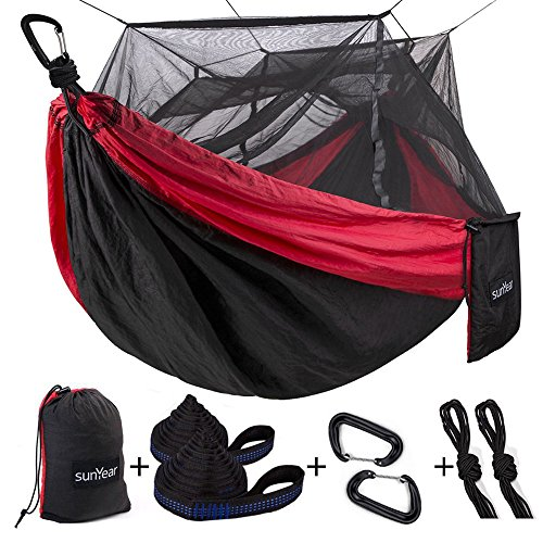 (Single & Double Camping Hammock with Mosquito/Bug Net, 10ft Hammock Tree Straps & Carabiners | Easy Assembly | Portable Parachute Nylon Hammock for Camping, Backpacking, Survival, Travel & More)