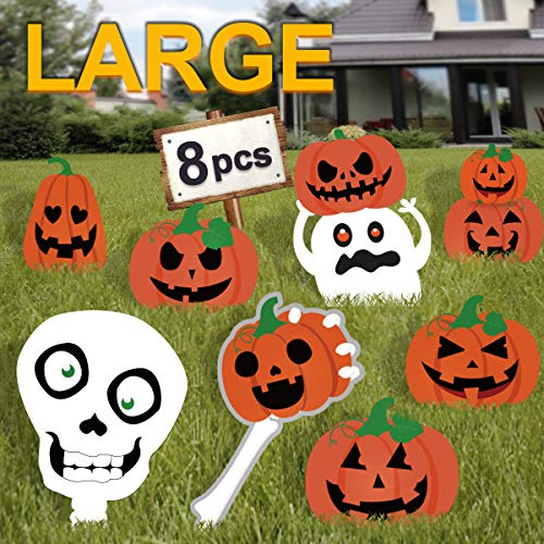 Halloween Bunting To Print (Pawliss Halloween Decorations Outdoor, Extra Large 8ct Pumpkins Skeleton and Ghost Corrugate Yard Signs with Stake, Family Friendly Trick or Treat Party Plastic)