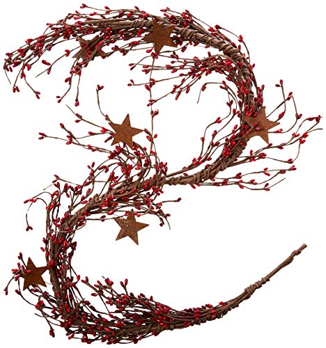 CWI Gifts Pip Berry and Star Garland, 40-Inch, Red/Burgundy