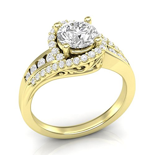 Yellow Gold Twisted Halo Engagement Ring 14K Engagement Ring Vintage Filigree Halo Ring Swirl Twist Ring Channel and Prong Setting Forever One Colorless Moissanite Center Ring For Her