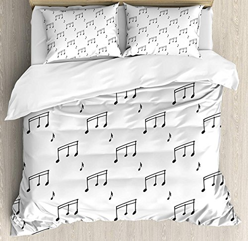 Sonata Comforter Set - BedBed UP Music 3 Pieces King Bedding Sets, Home Comforter Duvet Quilt Cover Sets, 2 Decorative Pillowcases, Bedspread for Childrens/Kids/Teens/Adults(Musical Notes Theme Melody Sonata Singing Song)