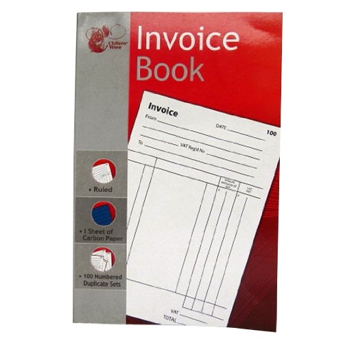 Invoice Duplicate Book - 1 to 100 Numbered Pages - Full Invoice Layout - Size 204mm X 132mm by Chiltern Wove ()