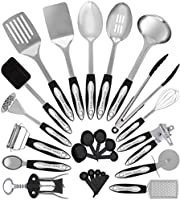 Stainless Steel Kitchen Utensil Set - 25 Cooking Utensils - Nonstick Kitchen Utensils Cookware Set with Spatula - Best...