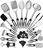 Stainless Steel Kitchen Utensil Set - 24 Cooking Utensils - Nonstick Kitchen Utensils Cookware Set with Spatula - Best Kitchen Gadgets Kitchen Tool Set Gift by HomeHero