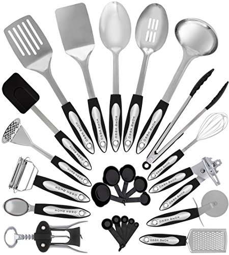 Utensil Stainless Steel (Stainless Steel Kitchen Utensil Set - 25 Cooking Utensils - Nonstick Kitchen Utensils Cookware Set with Spatula - Best Kitchen Gadgets Kitchen Tool Set Gift by HomeHero)