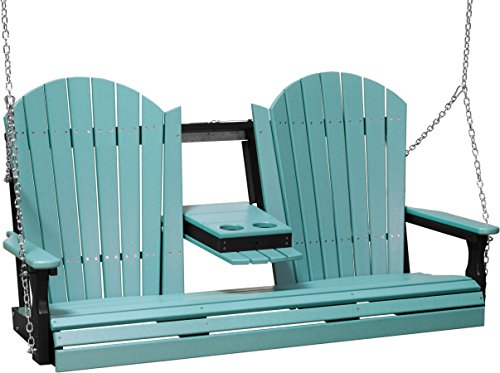 (Furniture Barn USA Outdoor 5 Foot Adirondack Swing - Aruba Blue and Black Poly Lumber - Recycled Plastic )