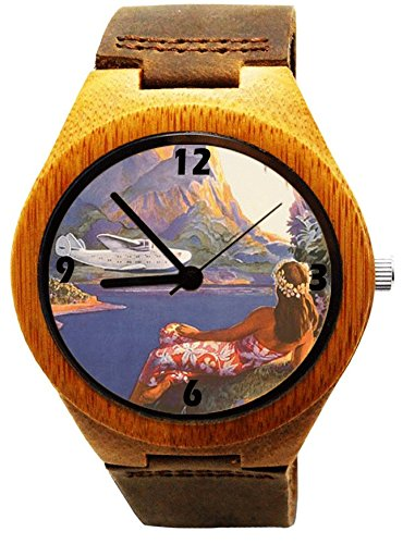 Price comparison product image Handmade Kahala Wooden Watch Made With Natural Bamboo Wood with Hawaiian Girl and Diamond Head Artwork - HGW-209