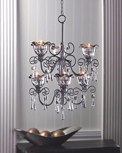 Midnight Bloom Tiered Hanging Tealight Votive Candle Holder Chandelier Decor ()