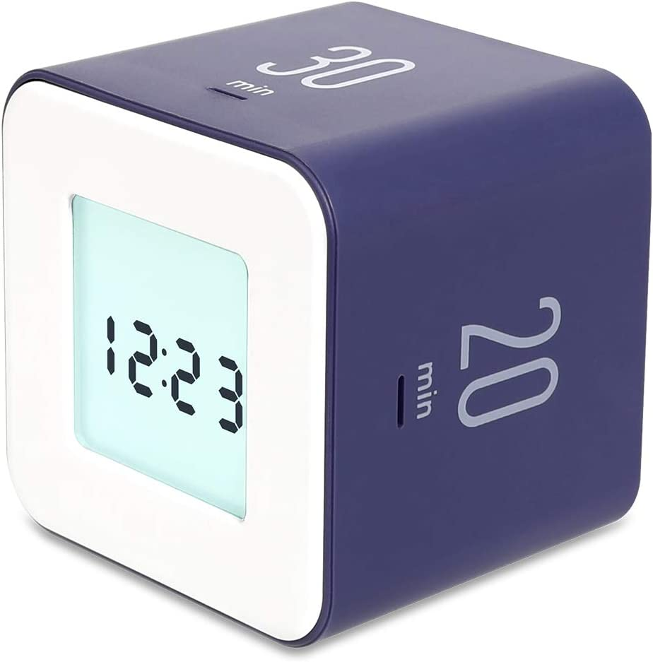 mooas Multi Cube Timer/Rotating Timer, Simple Operation, Clock & Alarm (Violet)