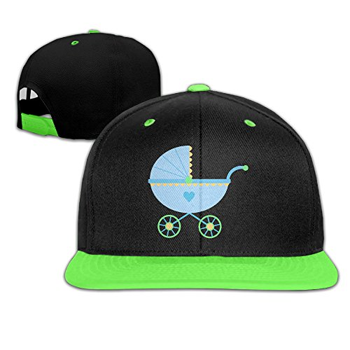 Infant Crib Caps - Cute Blue Baby Carriage Children's Fitted Hip Hop Snapback Baseball Hat
