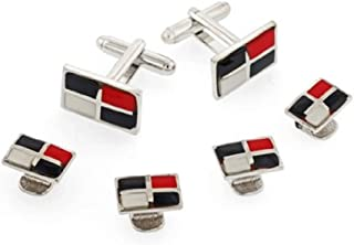 product image for JJ Weston Quadrant Tuxedo Cufflinks and Shirt Studs. Made in the USA.
