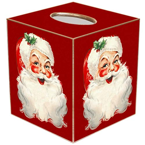 Marye-Kelley Christmas Tissue Box Cover with Smiling Santa Claus