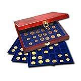 Premium Coin Case in Burlwood & Brass w/3 Trays by SAFE