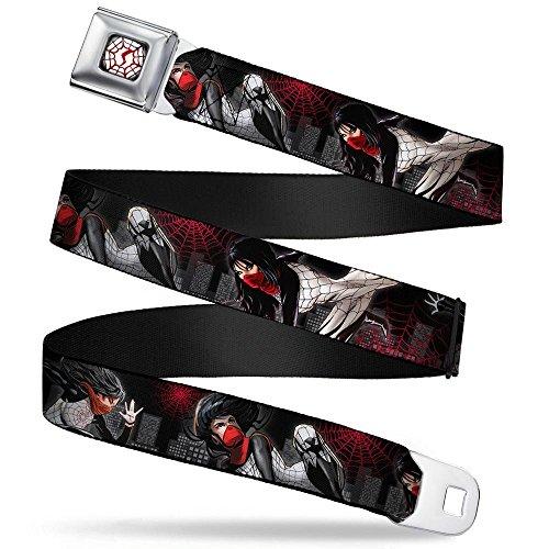 MARVEL UNIVERSE Silk S-Web Full Color Black/White/Red Seatbelt Belt - Silk Action Poses/Spider Webs/Skyline Black/Grays/Red Webbing X-LARGE
