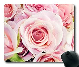 Lilyshouse Pink Flowers with Waterdrop Rectangle Mouse Pad