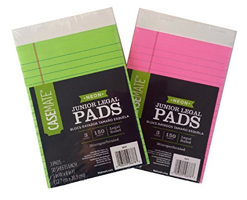Neon Junior Legal Pads Bundle - 2 Items: 1 Pack Neon Green Pads, 1 Pack Neon Pink Pads