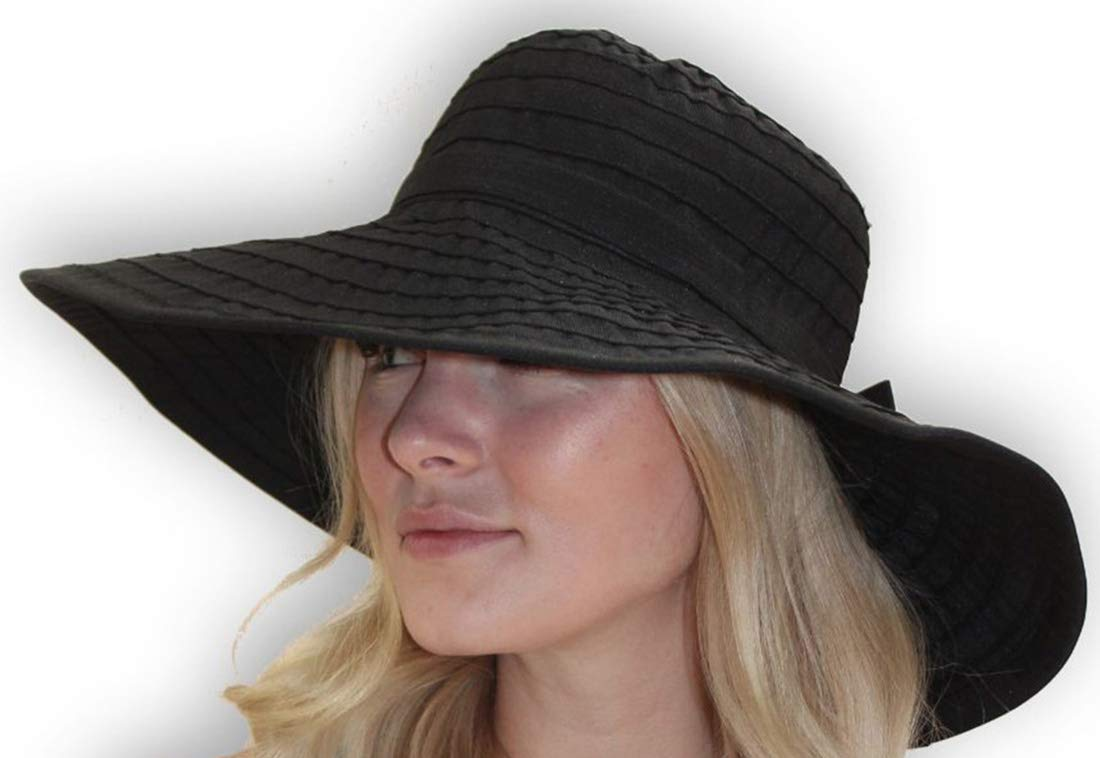 Women's Wide Brim Packable Sun Travel Hat for Large Heads - Ginger (XLarge, Black)