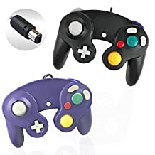 Gamecube Controller, Reiso 2 Packs Classic NGC Wired Controllers for Wii Gamecube(Black and Blueviolet)