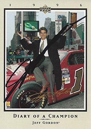 AUTOGRAPHED Jeff Gordon 1996 Upper Deck Racing DIARY OF A CHAMPION (New York City) Hendrick Motorsports Vintage Signed Collectible NASCAR Trading Card with COA and Toploader