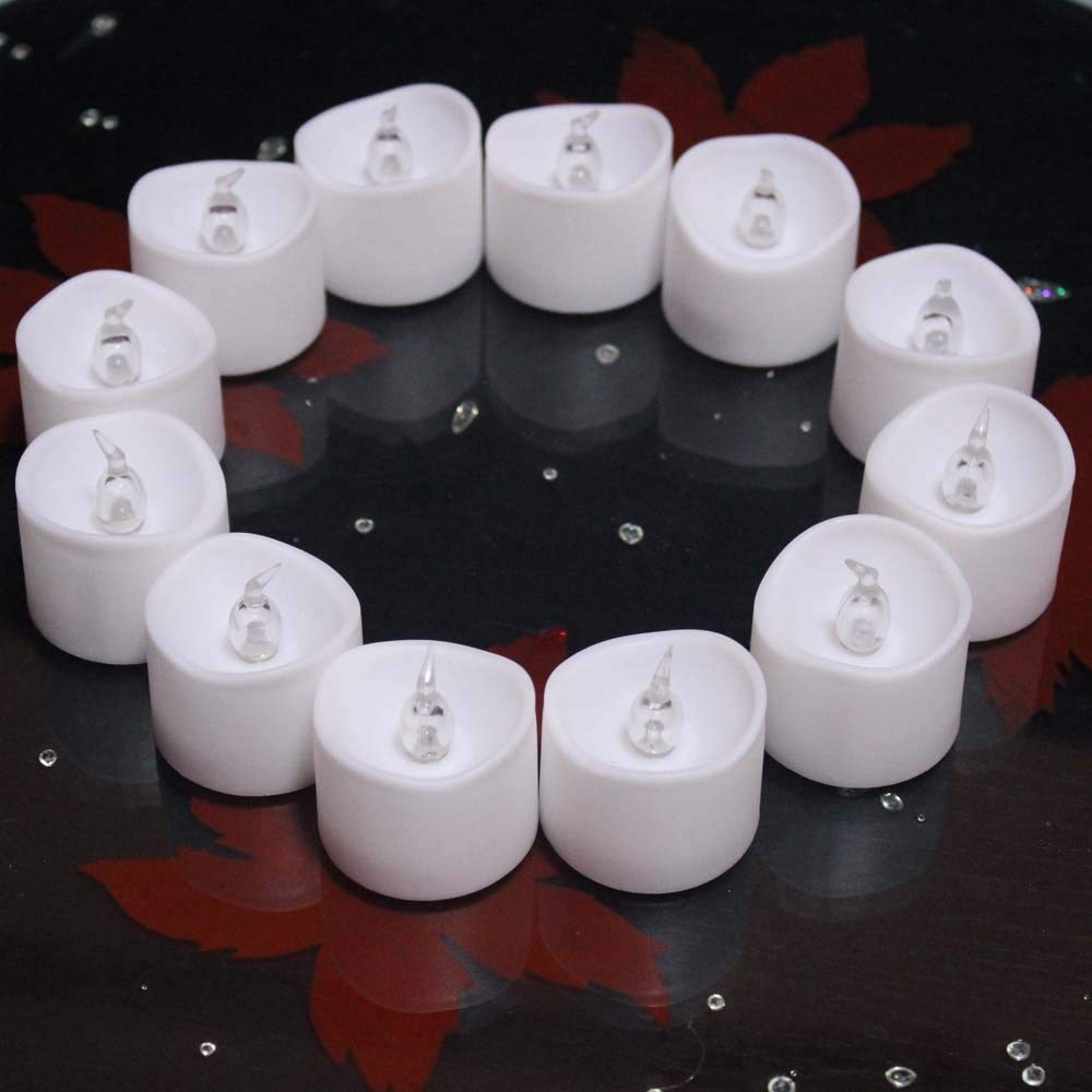 Electric Tea Lights Are Safe Its Only Red When Its On Smokeless and Give Off No Heat 12-battery-powered RED Flameless LED Frosted Flickering Tealight Candles Battery Powered