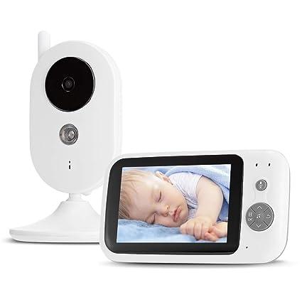 Leting 3,5 Pulgadas Vigilabebés con Cámara Inalámbrico Monitor para Bebés, Comunicación Bidireccional,