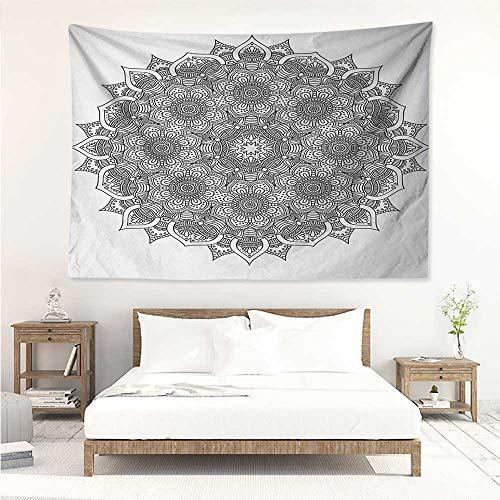 alisos Mandala,Large Tapestries Flower and Leaf Old Arabic Ottoman Ancient Mandala Chart Life Web Meditation Print 93W x 70L Inch Tapestry Wall Hangings Black White