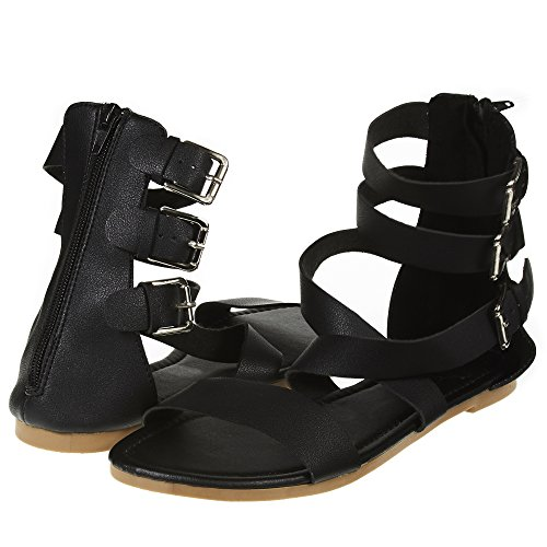 Sara Z Womens Triple Ankle High Wide Strap Flat Gladiator Sandals with Back Zipper Size 5/6 Black/Silver ()