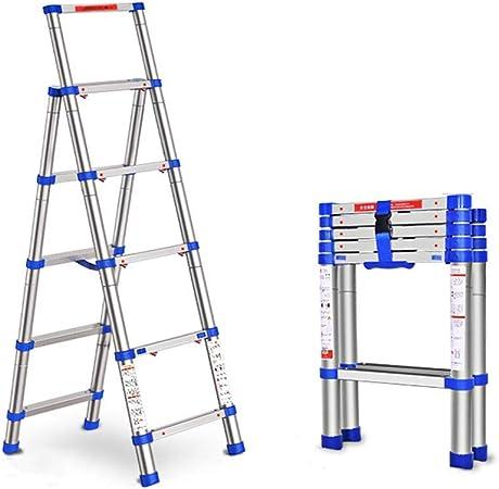 Escala De Escalera Telescópica Hogar Escalera Plegable Telescópica Interior Multi-Función Escalera Escala Gruesa Escalera De Aluminio Ingeniería Escaleras (Color: Plata, Tamaño: 92 * 45 * 165Cm): Amazon.es: Hogar