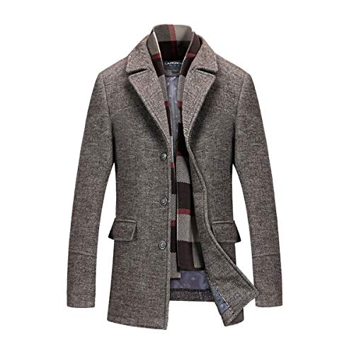 - INVACHI Men's Slim Fit Winter Warm Short Wool Blend Coat Business Jacket with Free Detachable Soft Touch Wool Scarf