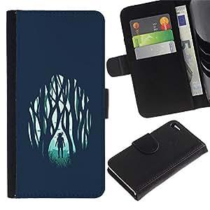 // PHONE CASE GIFT // Moda Estuche Funda de Cuero Billetera Tarjeta de crédito dinero bolsa Cubierta de proteccion Caso Apple Iphone 4 / 4S / Girl in Forest Emo /