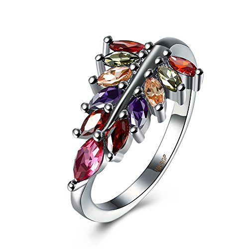 Romantic Fate Crystal Jewelry Fashion Gun Black Color Zircon Leaf Shape Creative Vintage Ladies Ring 9#