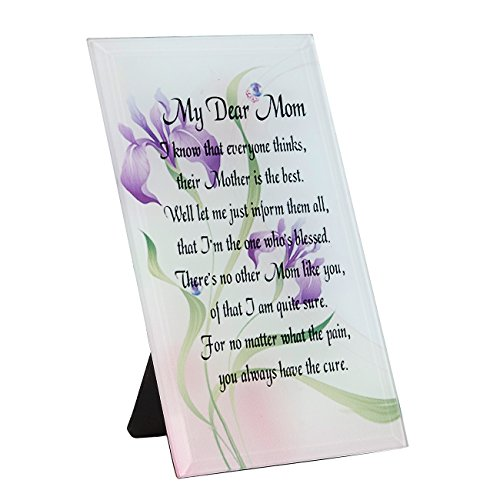 Juvale Mom Plaque - My Dear Mom Glass Plaque with Poem, Decorative Plaque Gift - Floral Decoration with Cursive Writing, Multi-Color Glass, 4 x 6.2 x 3 Inches