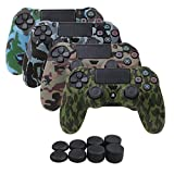 YoRHa Water Transfer Printing Camouflage Silicone Cover Skin Case for Sony PS4/slim/Pro controller x 4(forest+navy+desert+snow) With Pro thumb grips x 8 For Sale