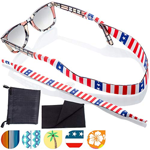 Sunglass and Glasses Sport Strap - 2pk Active Eyewear Retainer with Bonus Items (Liberty)