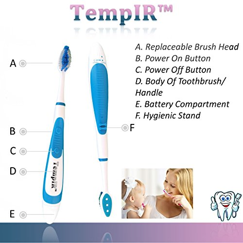 Sonic Toothbrush Portable Battery Operated, 2 Toothbrushes With 4 FREE Brush Heads, Children and Adults. TempIR Sonic Wave Electronic Turbo Brush 30,000 Brush Stokes A Minute. Lifetime Guarantee.