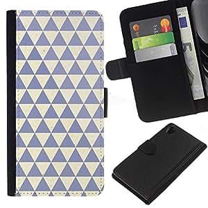 All Phone Most Case / Oferta Especial Cáscara Funda de cuero Monedero Cubierta de proteccion Caso / Wallet Case for Sony Xperia Z2 D6502 // patrón de polígono de color beige azul limpio