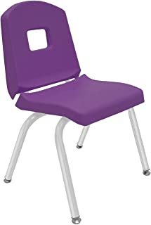 """product image for Creative Colors 1-Pack 14"""" Kids Preschool Stackable Split Bucket Chair in Purple with Platinum Silver Frame and Self Leveling Nickel Glide"""