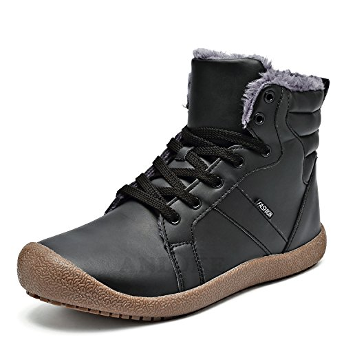 ANLUKE Men Women Winter Snow Boots High Top Waterproof Outdoor Warm Shoes Fur Lining Black 39