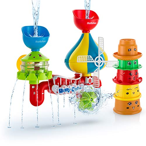 Advanced Play Baby Bath Toys Fun Interactive Waterfall Station Water Castle Toy with Sensory Stacking Cups Bath Toys for Toddlers Kids Children Girls Boys for Ages 18 mo