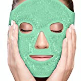 Facial Muscles Headache - PerfeCore Facial Mask - Get Rid of Puffy Eyes - Migraine Relief, Sleeping, Travel Therapeutic Hot Cold Compress Pack - Gel Beads, Spa Therapy Wrap for Sinus Pressure Face Puffiness Headaches (Green)