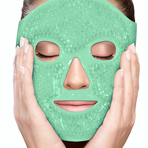 - PerfeCore Facial Mask - Get Rid of Puffy Eyes - Migraine Relief, Sleeping, Travel Therapeutic Hot Cold Compress Pack - Gel Beads, Spa Therapy Wrap for Sinus Pressure Face Puffiness Headaches - Green