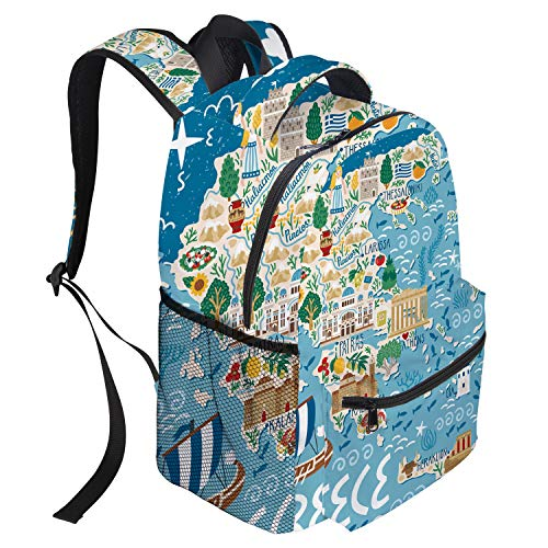 Large School Backpack for Teens/Kids/Girls/Boys Greek Island Map Multipurpose Lightweight Laptop Bag Casual Daypack for Hiking/Climbing/Traveling (Best Time Of Year To Go To Greek Islands)
