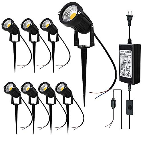 JESLED LED Landscape Spot Lights with Transformer, 12V Outdoor Landscaping Spotlights, 5W Warm White, Garden Walkway Pathway Walls Trees Flags Yard Lighting with Spike (8-Pack with 5A Transformer)