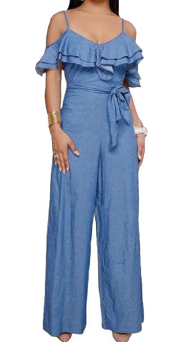 Blyent Womens Ruffled Spaghetti Strap Belt Denim Retro Wide Leg Jumpsuits