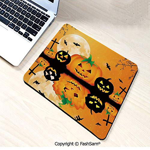 Mouse Pads Spooky Carved Halloween Pumpkin Full Moon with Bats and Grave Lake for Home(W7.8xL9.45)]()