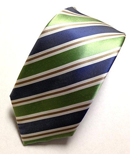 Tasso Elba Mens 100% Neck Tie, Green Crete Stripe, One ()