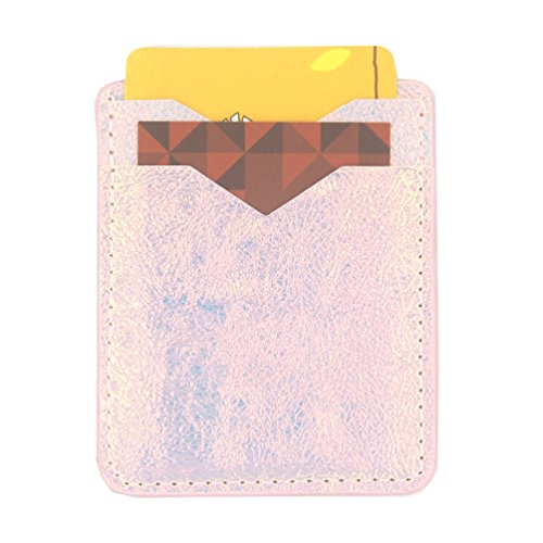 Card Holder for Back of Phone-Self Adhesive Stick On Credit Card Wallet for Back of Phone (Iridescent)
